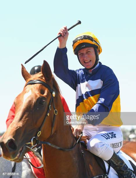 Linda Meech riding Linguist returns to scale after winning race 1 the DrinkWise Plate on 2017 Oaks Day at Flemington Racecourse on November 9 2017 in...