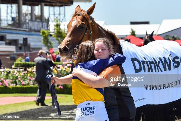 Linda Meech with Linguist after winning the DrinkWise Plate at Flemington Racecourse on November 09 2017 in Flemington Australia
