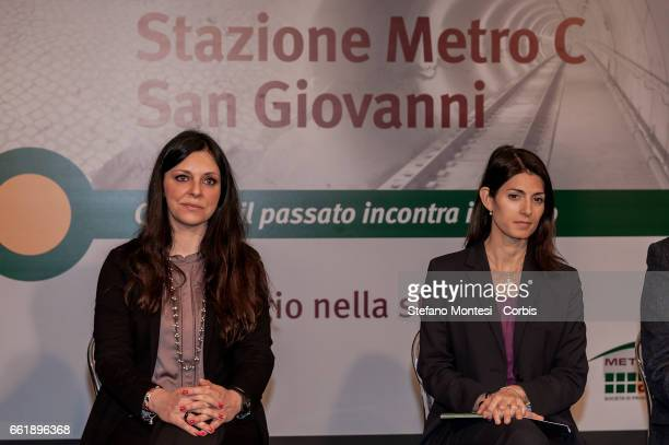 Linda Meleo Councillor for Mobility of Roma Capitale and Mayor of Rome Virginia Raggi attend the presentation to the press of the new stop Metro C in...