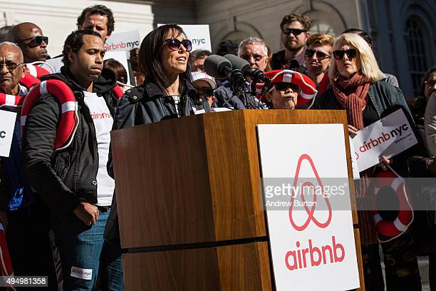 Linda Merlo an airbnb host from the Bronx speaks at a rally on the steps of New York City Hall showing support for the company on October 30 2015 in...