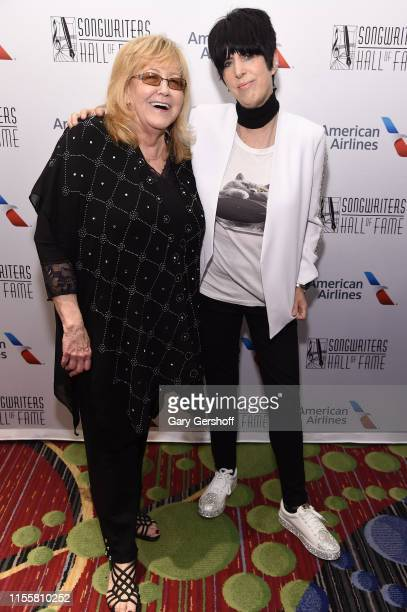 Linda Moran and Diane Warren pose backstage during the Songwriters Hall Of Fame 50th Annual Induction And Awards Dinner at The New York Marriott...