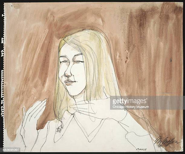 Linda Morse testifying for the defense in a courtroom illustration during the trial of the Chicago Eight Chicago Illinois late 1969 or early 1970 The...