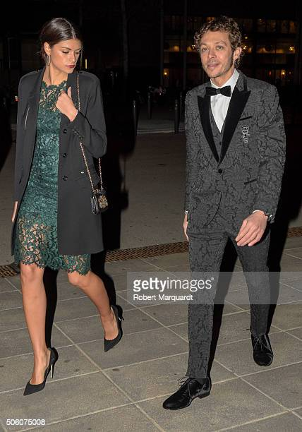 Linda Morselli and Valentino Rossi attend a dinner gala on January 19 2016 in Barcelona Spain