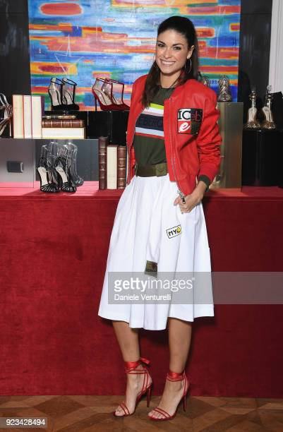 Linda Morselli is seen at the Alevi' presentation during Milan Fashion Week Fall/Winter 2018/19 on February 23 2018 in Milan Italy