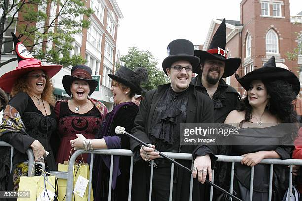 Linda Munroe Shalimar Angela DiFazio Christian Day Shawn Poirier and Leanne Gordan as Salem witches attend the unveiling of a statue dedicated to the...