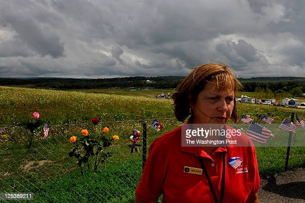 Linda Musser at the temporary Flight 93 Memorial She volunteers as a Flight 93 Ambassador Her family owned land that is now part of the new memorial...