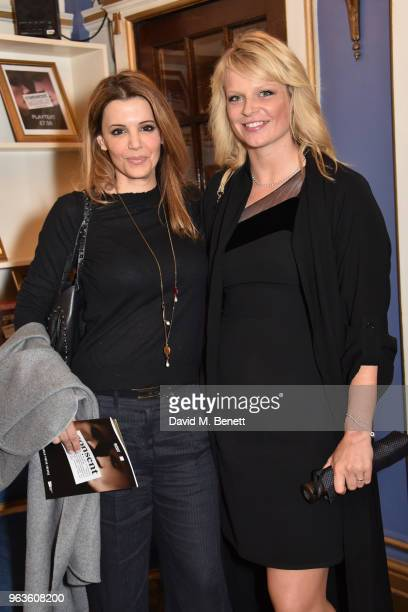 Linda Papadopoulos and guest arrive at the press night performance of 'Consent' at the Harold Pinter Theatre on May 29 2018 in London England