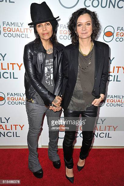 Linda Perry and Sara Gilbert arrive at the Family Equality Council's Impact Awards at The Beverly Hilton Hotel on March 12 2016 in Beverly Hills...