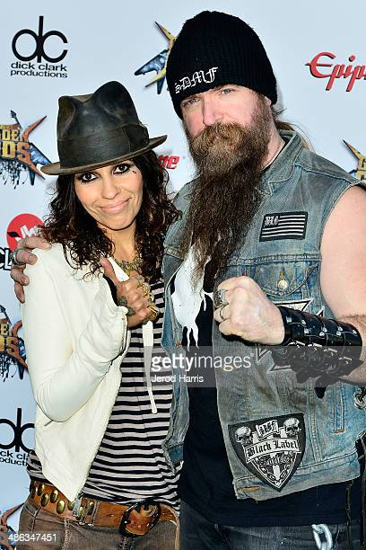 Linda Perry and Zakk Wylde arrive at the 2014 Revolver Golden Gods Awards at Club Nokia on April 23, 2014 in Los Angeles, California.