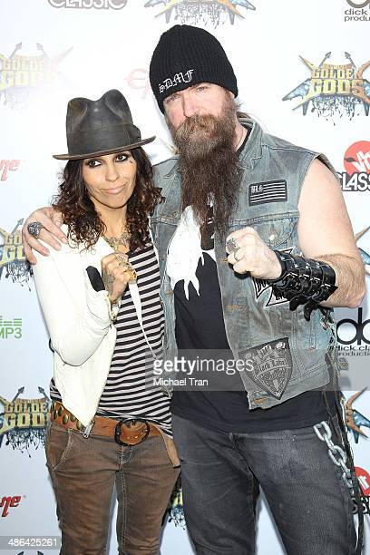 Linda Perry and Zakk Wylde arrive at the 6th Annual Revolver Golden Gods Award Show held at Club Nokia on April 23, 2014 in Los Angeles, California.