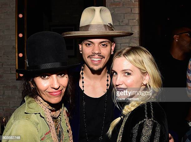 Linda Perry Evan Ross and Ashlee Simpson attend Linda Perry Celebration For The Song 'Hands Of Love' From The Film 'Freeheld' on January 5 2016 in...