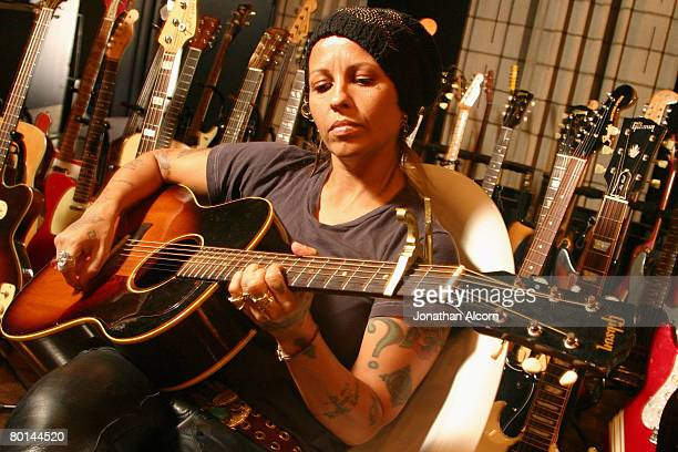 Linda Perry in her recording studio in the San Fernando Valley in California on August 23 2005 She had a huge hit in the mid'90s with her former band...