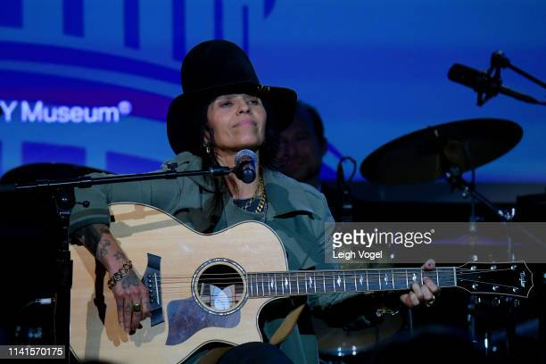 Linda Perry performs on stage at GRAMMYs on the Hill 2019 on April 09 2019 in Washington DC