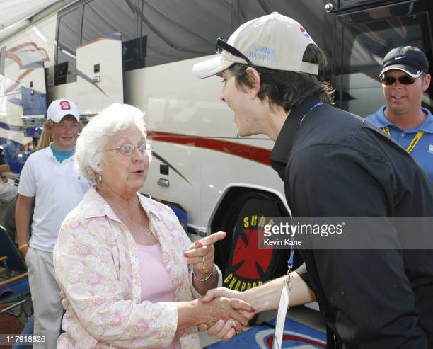 Linda Petty wife of Richard Petty talks to Brandon Routh actor in Superman Returns and Grand Marshall for the 2006 Pepsi 400 at the Daytona...
