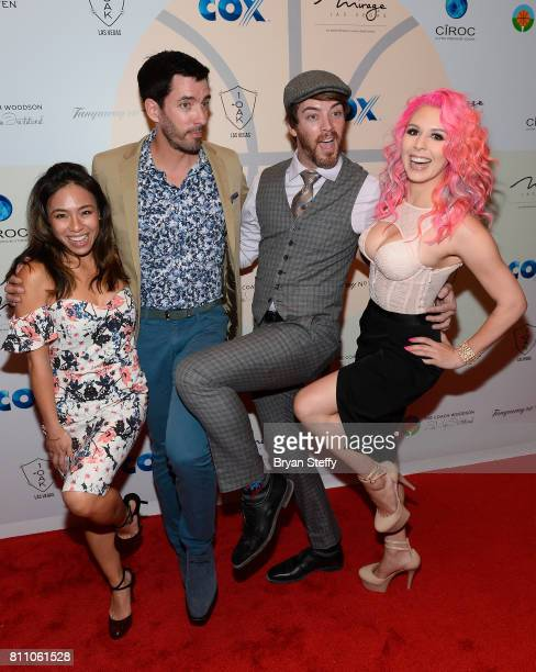 Linda Phan television personalities Drew Scott and JD Scott and model Annalee Belle arrive at the Coach Woodson Las Vegas Invitational red carpet and...