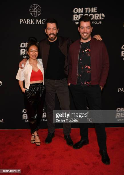 Linda Phan tv personalities Drew Scott and Jonathan Scott arrive at the grand opening celebration of On The Record Speakeasy and Club at Park MGM on...