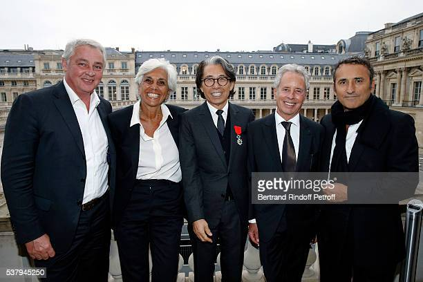 Linda Pinto and her husband Kenzo Takada Ed Tuttle and Pascal Houzelot attend Kenzo Takada Is Honoured With The Insignes of Chevalier De La Legion...