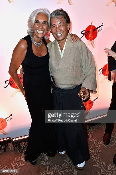 Linda Pinto and Kenzo Takada attend the Kenzo Takada's 50 Years Of Life in Paris Celebration at Restaurant Le Pre Catelan on September 17 2015 in...