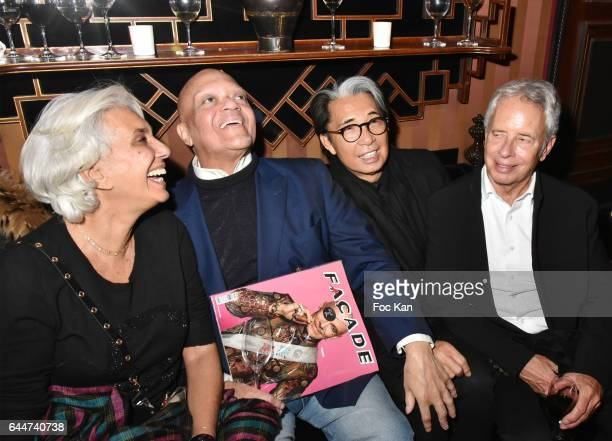 Linda Pinto Guy Cuevas Kenzo Takada and Ed Tuttle attend 'attend Facade 16 Magazine After Party at Hotel Costes on February 23 2017 in Paris France