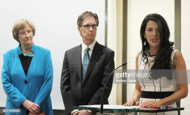 Linda Pizzuti Henry announces HUBweek as her husband and owner and publisher of the Boston Globe John Henry and Harvard University president Drew...