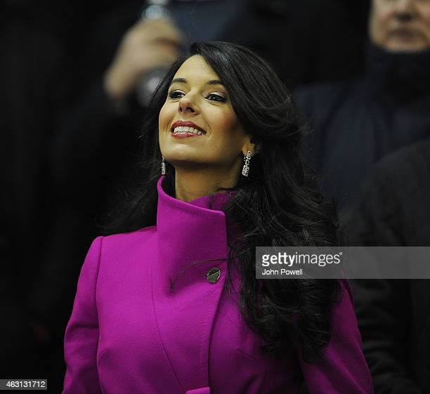Linda Pizzuti wife of John W Henry owner of Liverpool watches before the Barclays Premier League match between Liverpool and Tottenham Hotspur at...