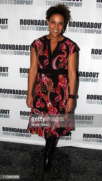 Linda Powell daughter of Colin Powell poses at The Opening Night Party for The Roundabout Theater Company's The Overwhelming at The Laura Pels...