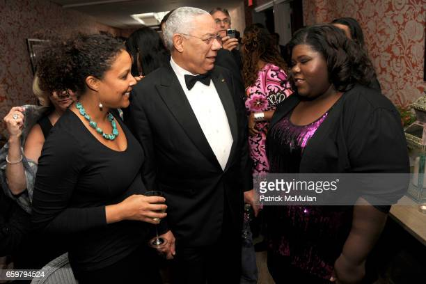 Linda Powell General Colin Powell and Gabourey Sidibe attend THE CINEMA SOCIETY TOMMY HILFIGER host the after party for PRECIOUS at Crosby Street...