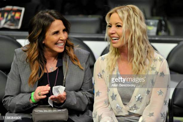 Linda Rambis and Jeanie Buss attend a basketball game between the Los Angeles Lakers and the Sacramento Kings at Staples Center on March 24 2019 in...
