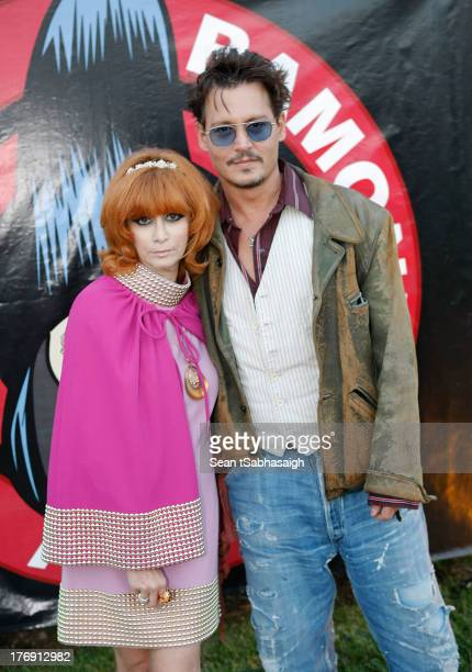 Linda Ramone and actor Johnny Depp attend the 9th Annual Johnny Ramone Tribute at Hollywood Forever on August 18 2013 in Hollywood California