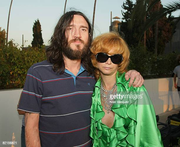 Linda Ramone and John Frusciante attend the Tribute To Johnny Ramone at the Forever Hollywood Cemetery on August 1 2008 in Los Angeles California