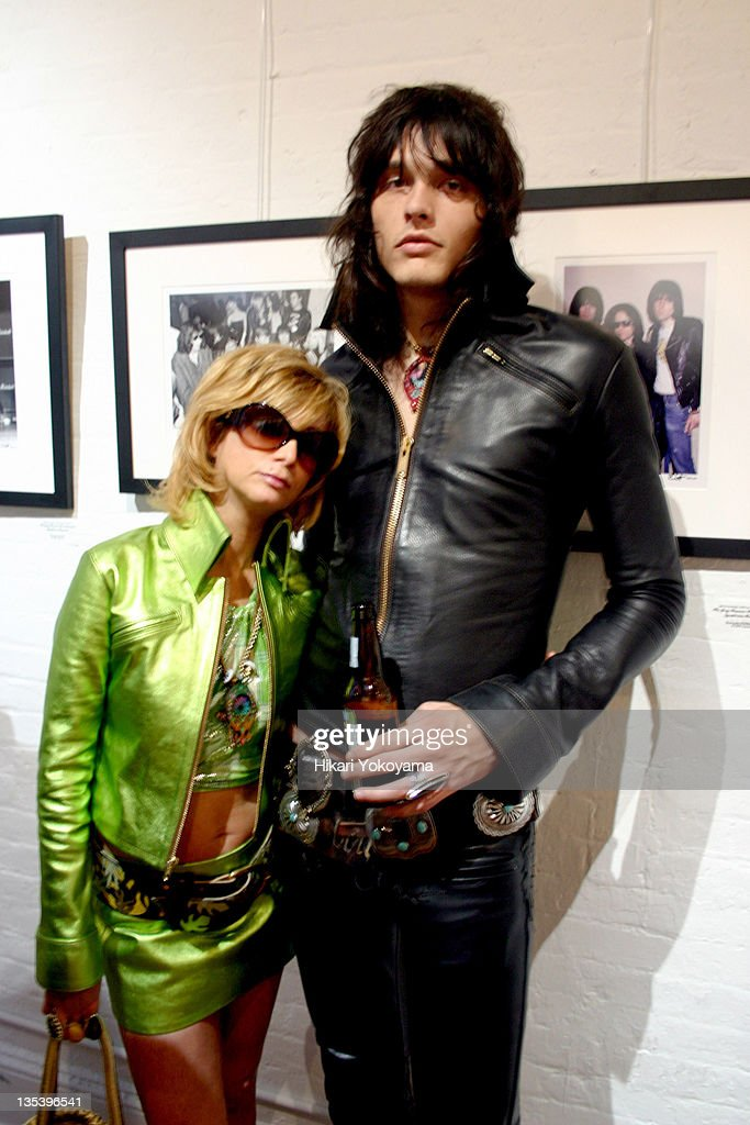 Linda Ramone and Jordan Davis during Bob Gruen Print Sale Benefiting the Joey Ramone Foundation at Morrison Hotel Gallery Loft in New York, New York, United States.