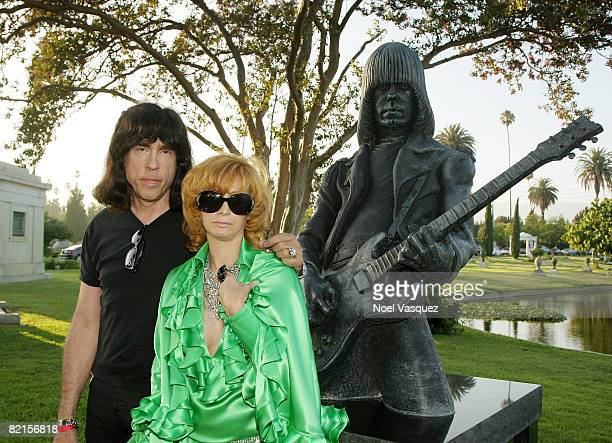 Linda Ramone and Marky Ramone attend the Tribute To Johnny Ramone at the Forever Hollywood Cemetery on August 1 2008 in Los Angeles California