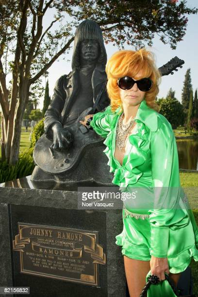 Linda Ramone attends the Tribute To Johnny Ramone at the Forever Hollywood Cemetery on August 1 2008 in Los Angeles California