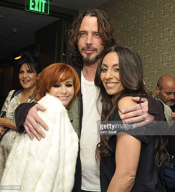 Linda Ramone Chris Cornell and Vicky Karayiannis attend 'Commando The Autobiography of Johnny Ramone' launch party hosted by Linda Ramone on April 27...