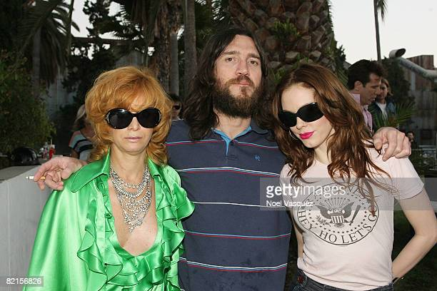 Linda Ramone John Frusciante and Rose McGowan attend the Tribute To Johnny Ramone at the Forever Hollywood Cemetery on August 1 2008 in Los Angeles...