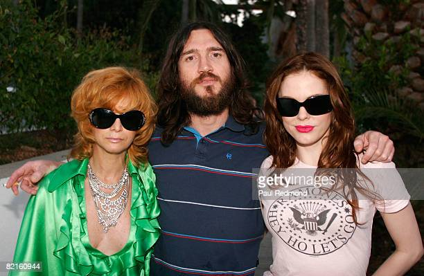 Linda Ramone John Frusciante and Rose McGowanat the Tribute To Legendary Ramones Guitarist Johnny Ramone at the Hollywood Forever Cemetery on August...