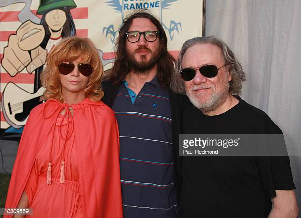 Linda Ramone musician John Frusciante and musician Tommy Ramone attend the The 6th Annual Johnny Ramone Tribute at Hollywood Forever on July 25 2010...