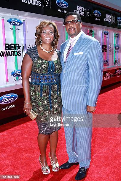 Linda Reese and Greg Mathis arrived at the BET Make A Wish Foundation Recipient Wish To Attend BET Awards Red Carpet Arrivals on June 29 2014 in Los...