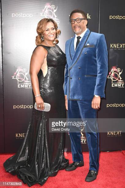 Linda Reese and Judge Greg Mathis attends the 46th annual Daytime Emmy Awards at Pasadena Civic Center on May 05 2019 in Pasadena California