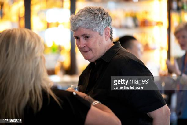 """Linda Riley shares a conversation during the """"Henpire"""" podcast launch event at Langham Hotel on September 10, 2020 in London, England."""