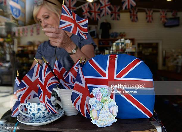 Linda Roberts dresses her windows with flags and baby blue colors to celebrate the birth of Catherine, Duchess of Cambridge, and her husband Prince...