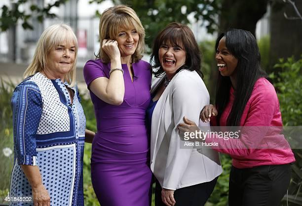 Linda Robson Kaye Adams Coleen Nolan and Jamelia Niela Davis seen on The Southbank during filming 'Loose Women' on July 8 2014 in London England
