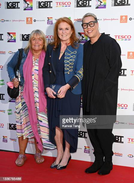 Linda Robson, Sarah, Duchess of York and Gok Wan attend the British LGBT Awards 2021 at The Brewery on August 27, 2021 in London, England.