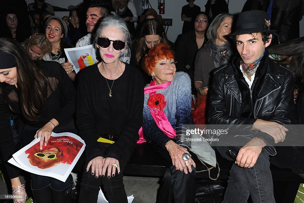 Linda Rodin and Ilona Royce Smithkin and Erik Liberman attends Karen Walker during Fall 2013 Mercedes-Benz Fashion Week at Pier 59 on February 11, 2013 in New York City.