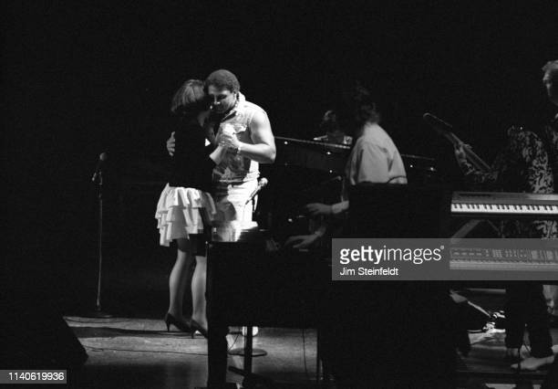 Linda Ronstadt performs with Aaron Neville at the St Paul Civic Center in St Paul Minnesota on September 11 1990