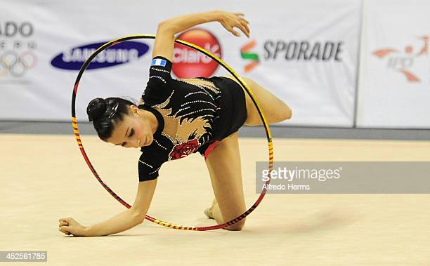 Linda Sandoval Maldonado of Guatemala competes in hoops artistics gimnastics as part of the XVII Bolivarian Games Trujillo 2013 at Villa Deportiva...
