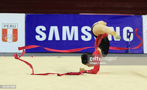 Linda Sandoval Maldonado of Guatemala competes in ribbons artistics gimnastics as part of the XVII Bolivarian Games Trujillo 2013 at Villa Deportiva...