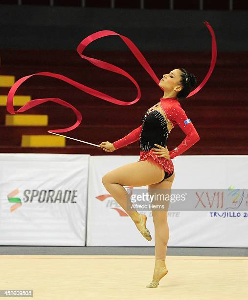 Linda Sandoval Maldonado of Guatemala competes in ribbons during artistics gimnastics event as part of the XVII Bolivarian Games Trujillo 2013 at...