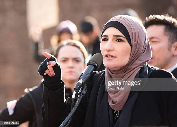 Linda Sarsour attends a rally to protest the executive order that President Donald Trump signed clamping down on refugee admissions and temporarily...