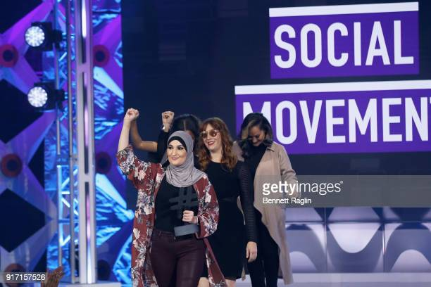 Linda Sarsour Bob Bland and Carmen Perez accepts award on stage at BET's Social Awards 2018 at Tyler Perry Studio on February 11 2018 in Atlanta...